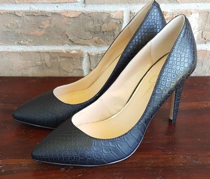 Jessica Simpson Black High Heels Croc Print Size 10 M #JessicaSimpson #PumpsClassics
