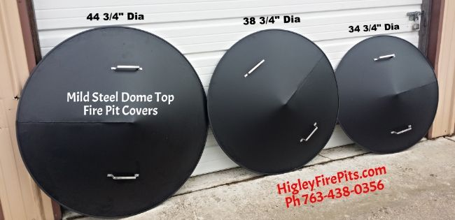 Mild Carbon Steel Gas-Wood Fire Pit Dome Covers. 6