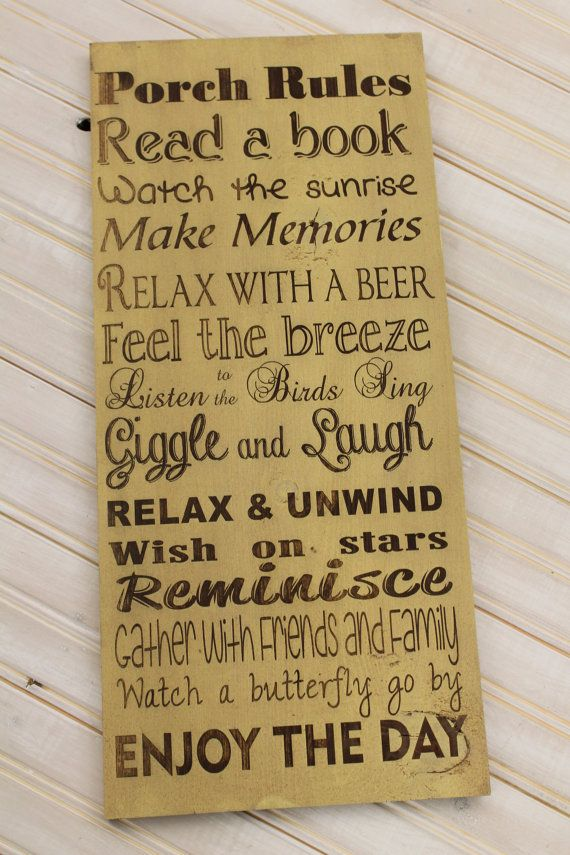 Primitive Vintage Style Laser Engraved Custom Personalized Porch, Deck,  Patio Rules 9x20 Typography Word