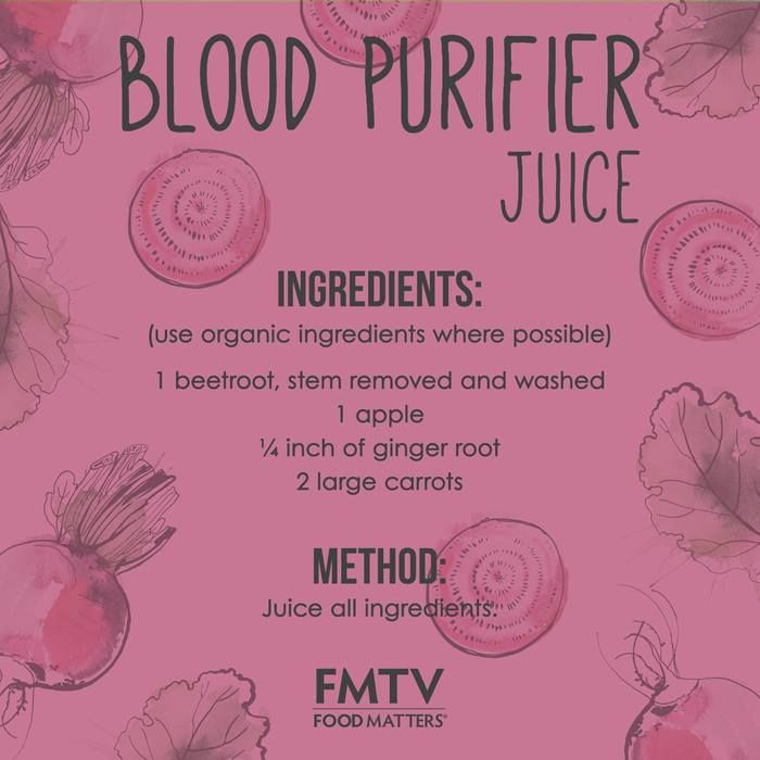 Thanks for showing the LOVE! Here it is the FMTV Blood Purifier Juice.  Why it is good for you! Beetroot is the star ingredient in this juice. It is best known as a blood purifier that helps in the creation of red blood cells. Beet juice is also high in dietary nitrate, and a rich source of folate and manganese. Its superstar powers help to improve the structure of your blood and aids in curing diseases of the circulatory system! https://www.fmtv.com/watch/blood-purifier-juice