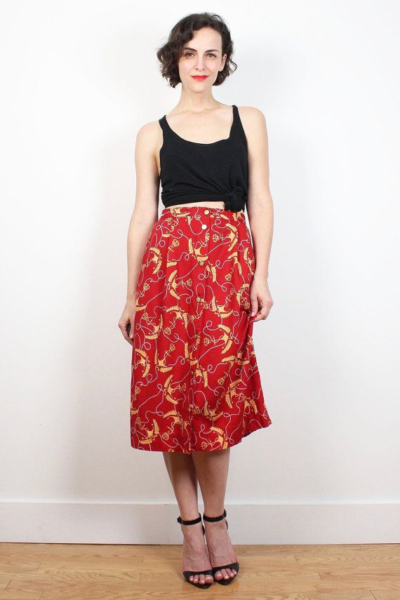 Vintage 80s Skirt Red Yellow Anchor Nautical Print Midi Skirt High Waisted Skirt Preppy 1980s Skirt Knee Length Hipster Pockets M L Large #vintage #etsy #1980s #80s #nautical #midi #skirt #preppy