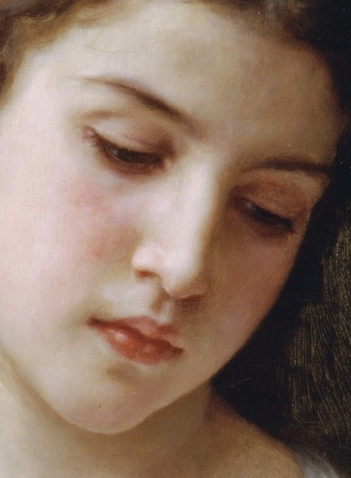 'Head of a Young Girl' - detail - 1898 - by William-Adolphe Bouguereau
