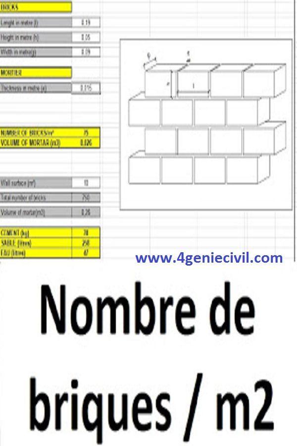 Calcul Du Nombre De Briques Et Quantite De Mortier Par M2 De Mur Brique Lecture De Plan Genie Civil