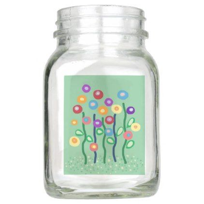 Bright colorful arty flowers on mint background mason jar - floral style flower flowers stylish diy personalize