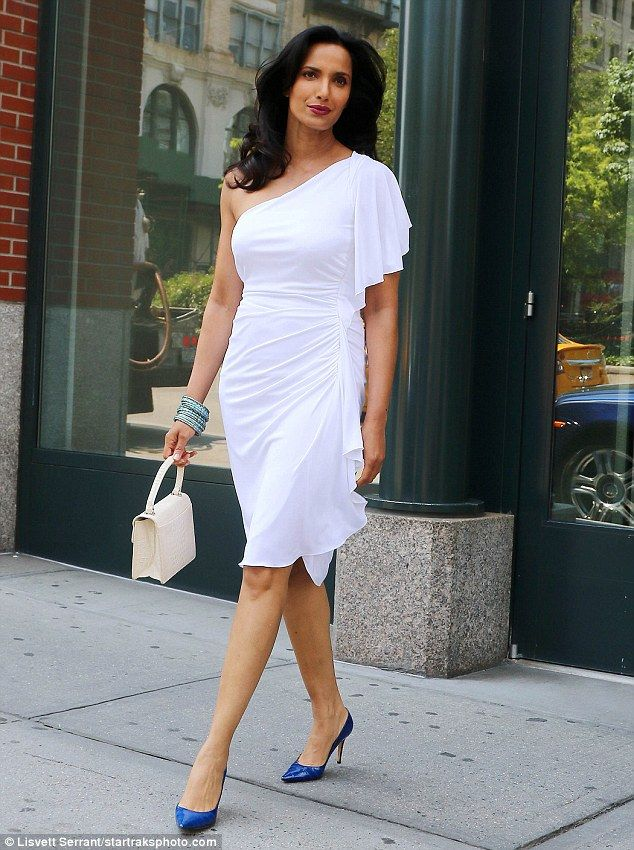 White hot! Padma Lakshmi showcased her phenomenal figure in a one-shoulder dress as she he...
