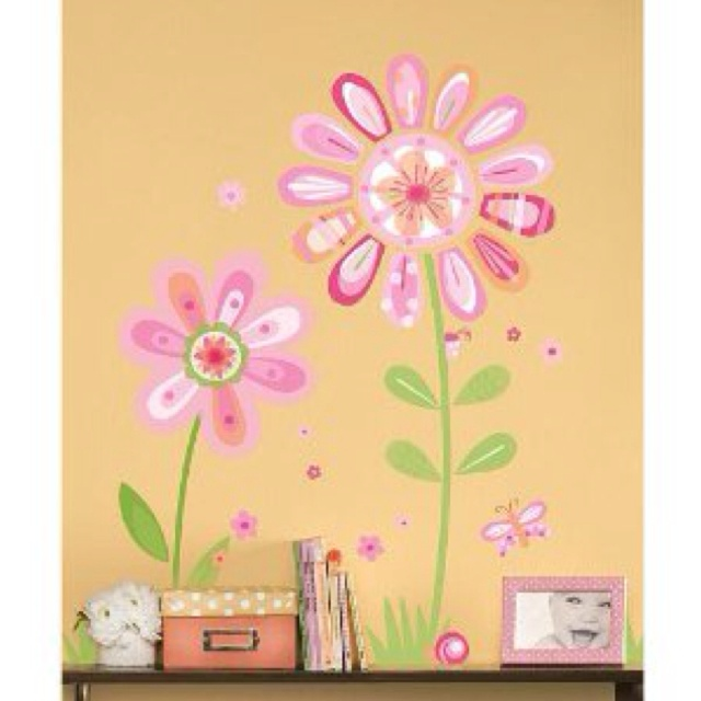 Modern flower wall decal