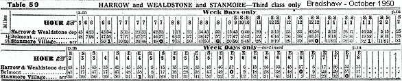 Timetable Extract from Bradshaw train guide for Wealdstone & Harrow, Belmont, and Stanmore Village Branch line.