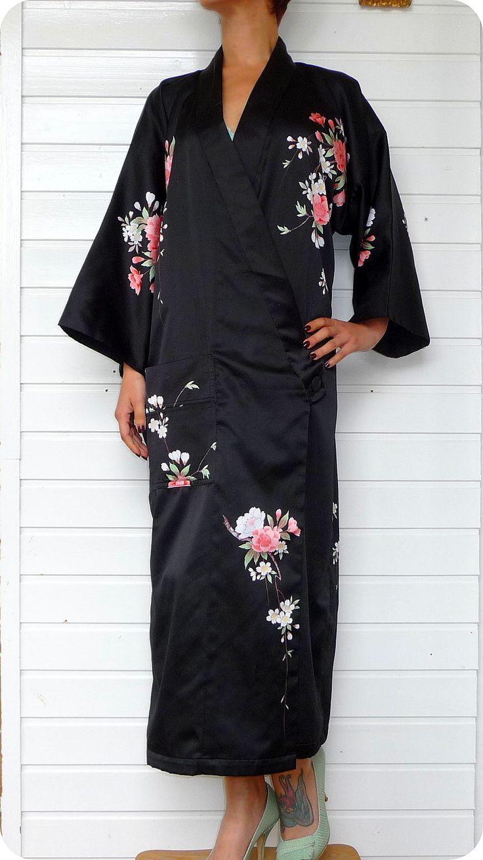 Vintage Japanese Kimono Morgenmantel Lolita Kleid Dressing Gown Blumen Satin M L | eBay