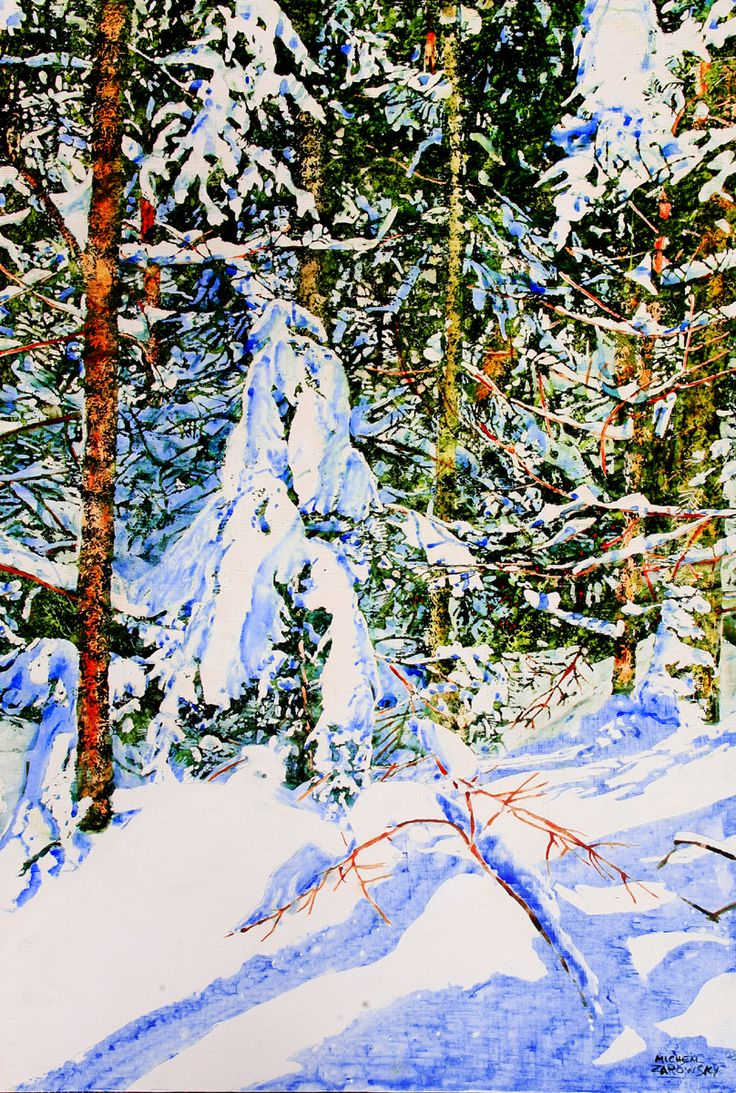 "overnight snowfall 19 36"" x 24""  micheal zarowsky / mixed media (watercolour / acrylic painted directly on gessoed birch panel) available $2100.00"