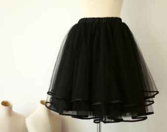 Black Tulle Skirt/Satin Edge Tulle Skirt/Women Tulle Skirt/Short TUTU Skirt/Wedding Dress Underskirt/Petticoat