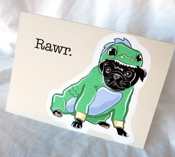 Dragon Pug Greeting Card Black Pug Black Pug Black Pug