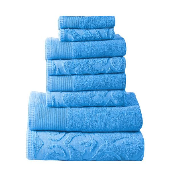 Affinity Elegance Egyptian Cotton 6 Piece Bath Towel Set Aqua Blue