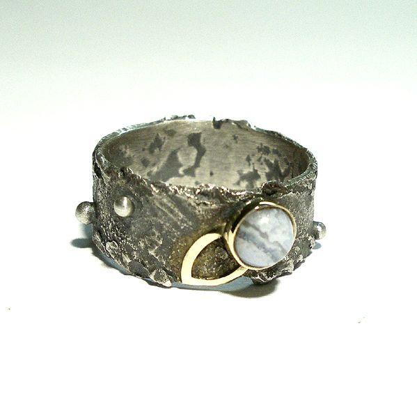 Pierścień Srebro Złoto|Handmade|By Norman Man Jewellery