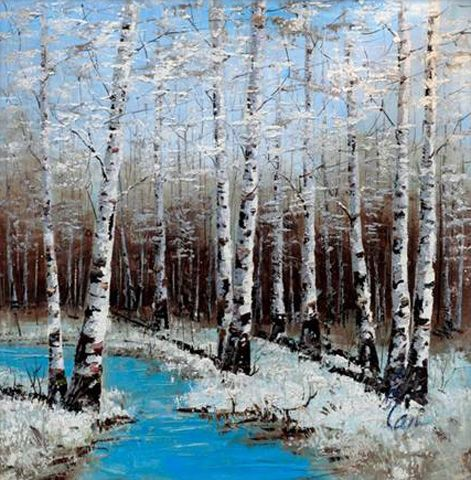 Inam - Winter Is Here. Forest shrouded in the mist and silver birches glowing in the moonlight are the subjects of Inam's exquisite and atmospheric oil paintings which blend colors and textures to mesmerizing effects.  Born and brought up in South Asia, Inam learned the fundamentals of sketching and paintings at a young age.