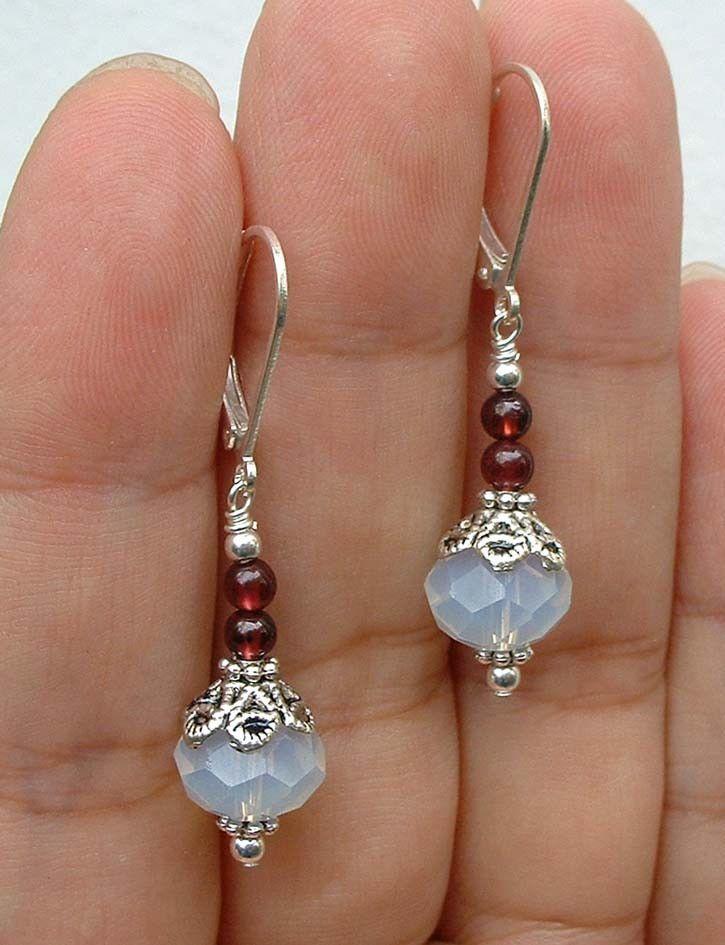 Beautiful Faceted Blue Opal Red Garnet Earrings Eardrop