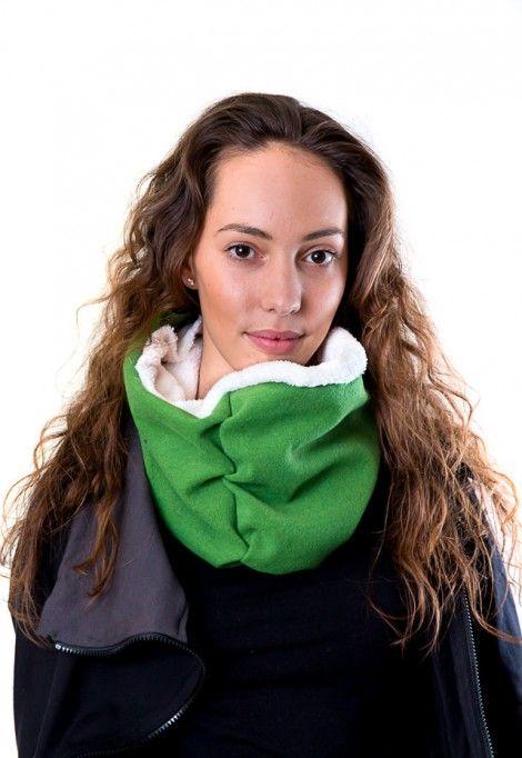 Green warm cotton scarf with fleece lining, dressign.com