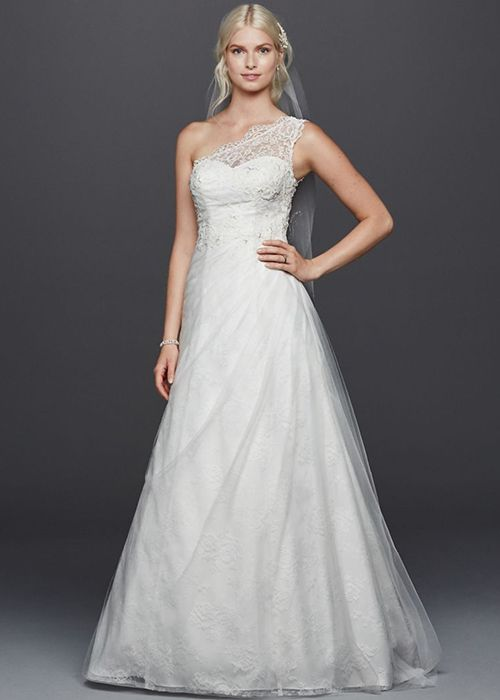 One-Shoulder Wedding Dress David's Bridal | Brides.com