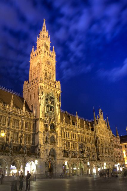 Town Hall (Rathaus) of Munich (Munchen), Germany, at night. 2001