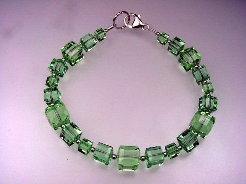 """""""Skyscrapers"""" Bracelet (Light Green) . $30.00. Handcrafted; Swarovski crystals; Limited-edition in this color"""
