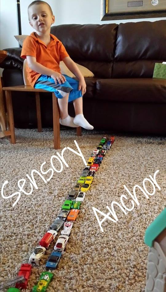 Sensory anchors - C likes to line up his cars as his sensory anchor activity. #spd #sensoryprocessingdisorder