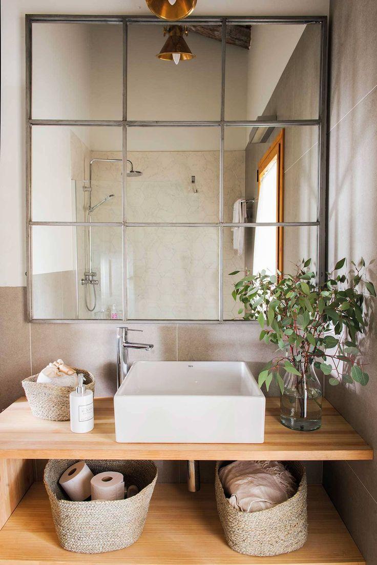 Pura simetría   Colores para baños pequeños, Espejos para ...