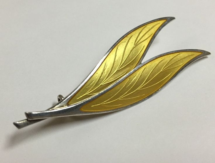 THUNE-NORWAY 925 STERLING SILVER Antique ENAMEL gold/yellow LEAF BROOCH PIN #THUNENORWAY