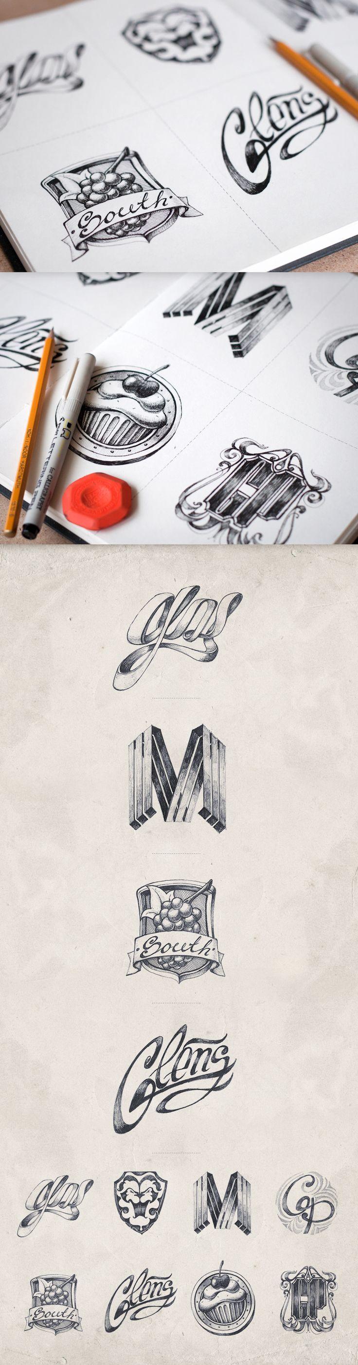 Hand Drawn Logos. Dream. Logo logotipo dibujo mano , desenho mao
