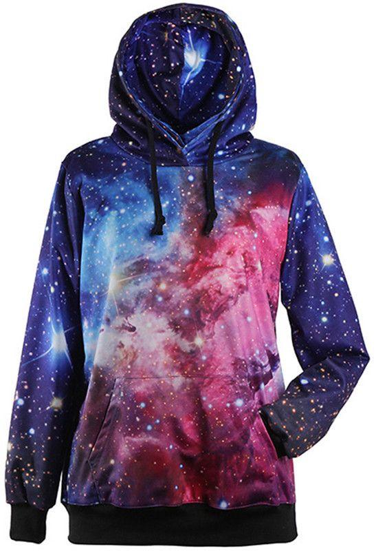 2016 Autumn Winter Galaxy Print Punk Women Hoodies New Fashion Leaf Print Coat With Pocket Digital Print Hooded Pullovers