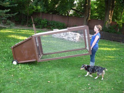 Mobile chicken coop.  Great idea!  And wire bottom keeps them safe still, but grass and bugs are still available.