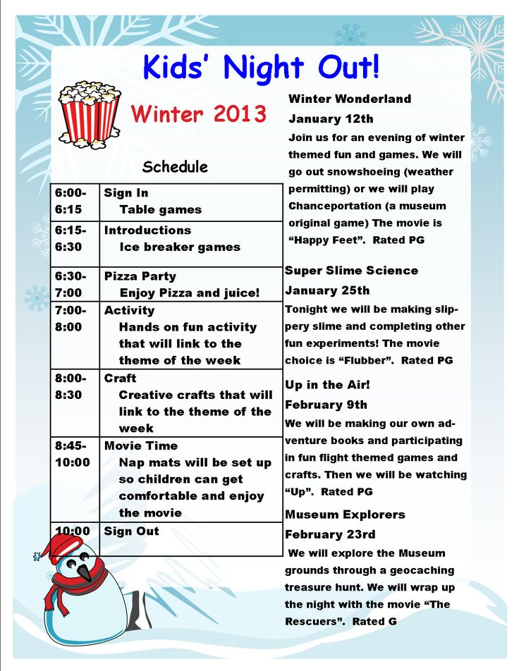 Check out our winter Kid's Night out Themes at Markham Museum.