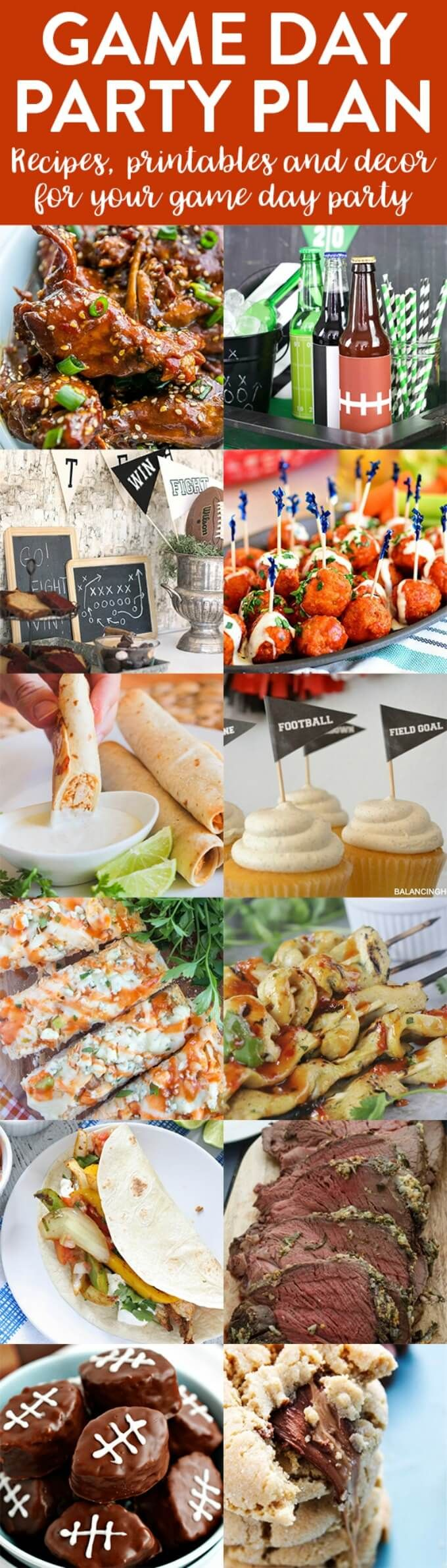 12 Game Day Party Plan Ideas, Recipes, and Decor | http://thecookiewriter.com | @thecookiewriter | #gameday | Here are 12 Game Day recipes, printables, and decorations for your party!