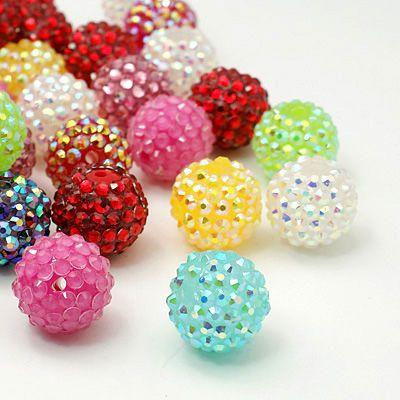 Harz Strass Perlen, diy Spacer Perlen für Quasten-Ohrringe, Runde, Mischfarbe, 14 mm, Loch: 3 mm