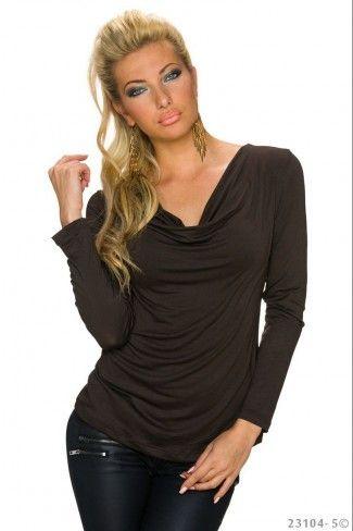 Ντραπέ μακρυμάνικη μπλούζα - Σκούρο Καφέ