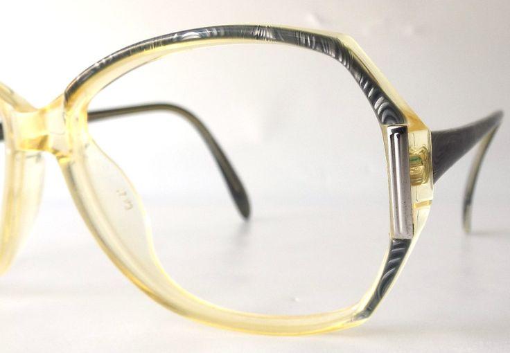 vintage 70's 80's round eyeglasses frames oversized retro eye glasses eyewear optical used plastic translucent metallic grey gray silver by RecycleBuyVintage on Etsy