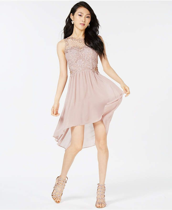 8e7fe0e45 City Studios Juniors' High-Low Lace-Contrast Dress | Prom Dresses ...