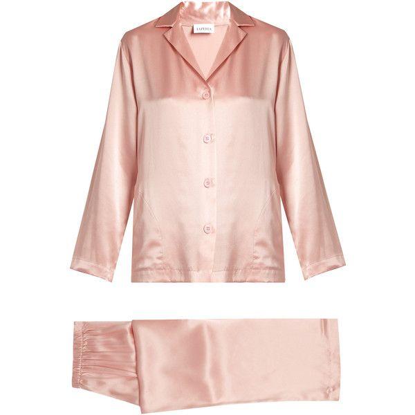 La Perla Silk-satin pyjama set (3.860 ARS) ❤ liked on Polyvore featuring intimates, sleepwear, pajamas, pink, pink pajamas, pink sleepwear, pink pjs, la perla sleepwear and silk satin pajamas