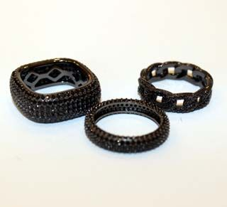 My Island Home - Diamante Rings - black bands