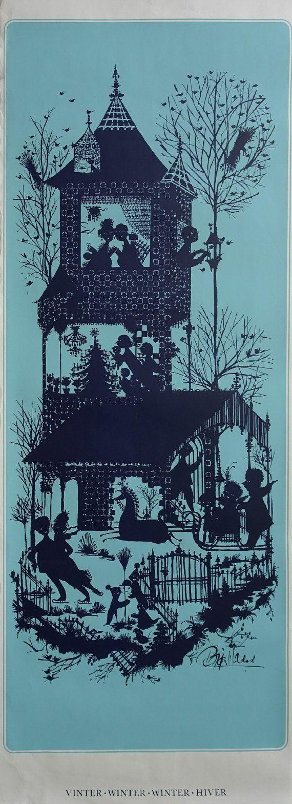 """1960s Bjørn Wiinblad """"Winter"""" (Blue edition) - Original Vintage Poster"""