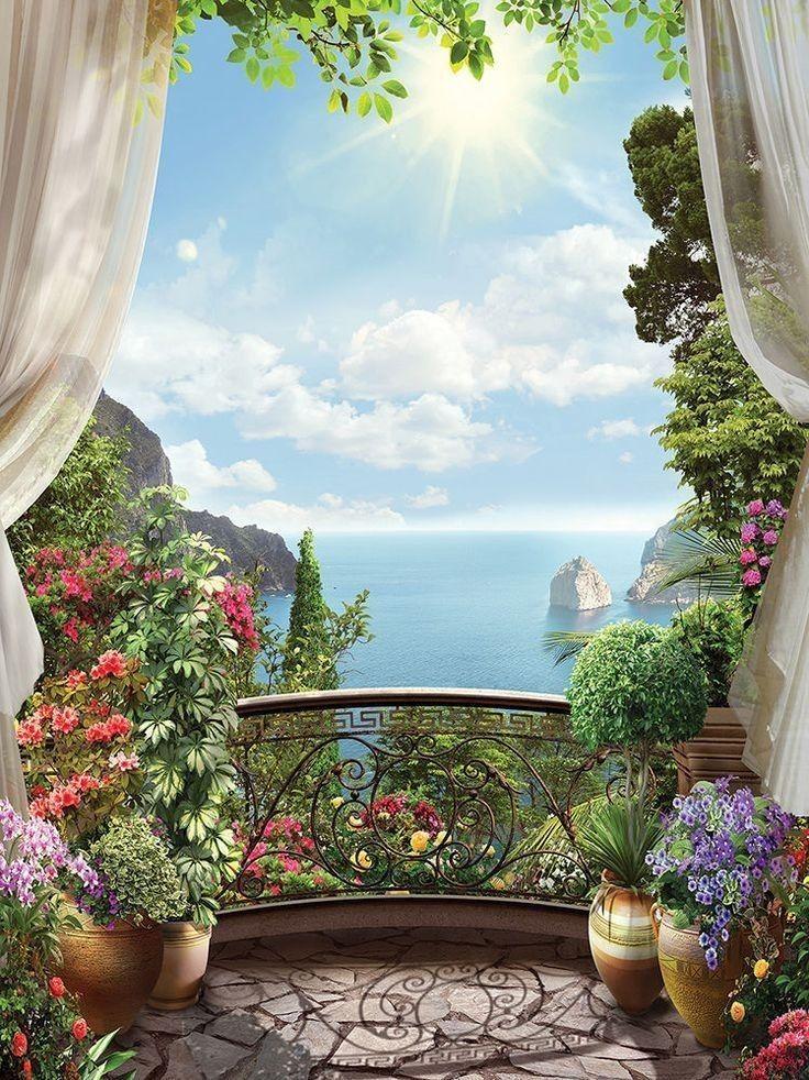 картина вид из окна в сад колокольников яркий представитель