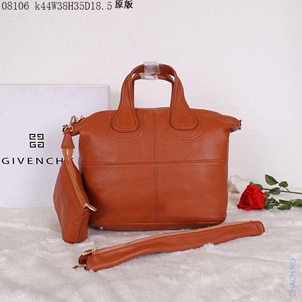 Сумка Givenchy (Живанши) Nightingale bag черная из натуральной кожи, среднего размера,  коричневая, с широким наплечным ремешком