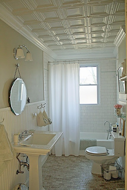White Tin Tiles I Love The Idea Of A Tin Ceiling And Crown Molding In The  Bathroom.and Since Our Bathroom Is So Small, It Might Not Break The Budget Part 59