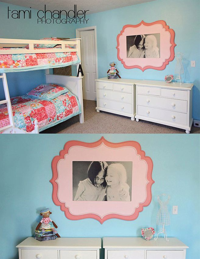 blown up sweet sister photo for shared room