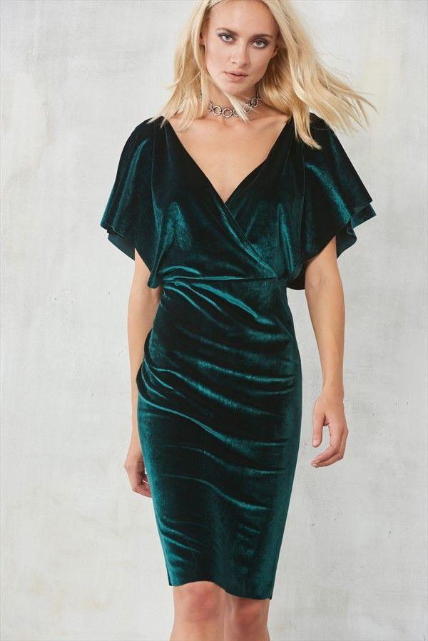Yeşil Kruvaze Yaka Kadife Elbise TRENDYOLMİLLA | Trendyol