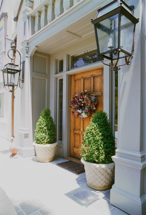 love the large plants by the front door great ideas pinterest. Black Bedroom Furniture Sets. Home Design Ideas