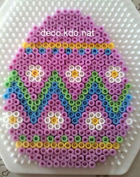 Pink Easter egg hama perler beads by Deco.Kdo.Nat