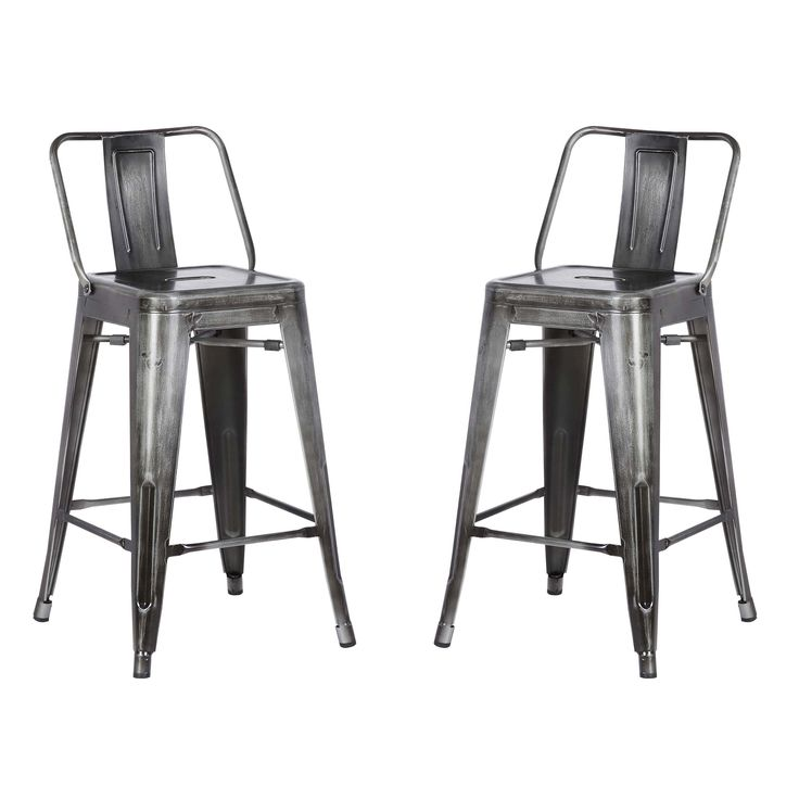Distressed Metal Counter Stool with Back - Set of 2 |  sc 1 st  Pinterest & Best 25+ Metal counter stools ideas on Pinterest | Cool restaurant ... islam-shia.org