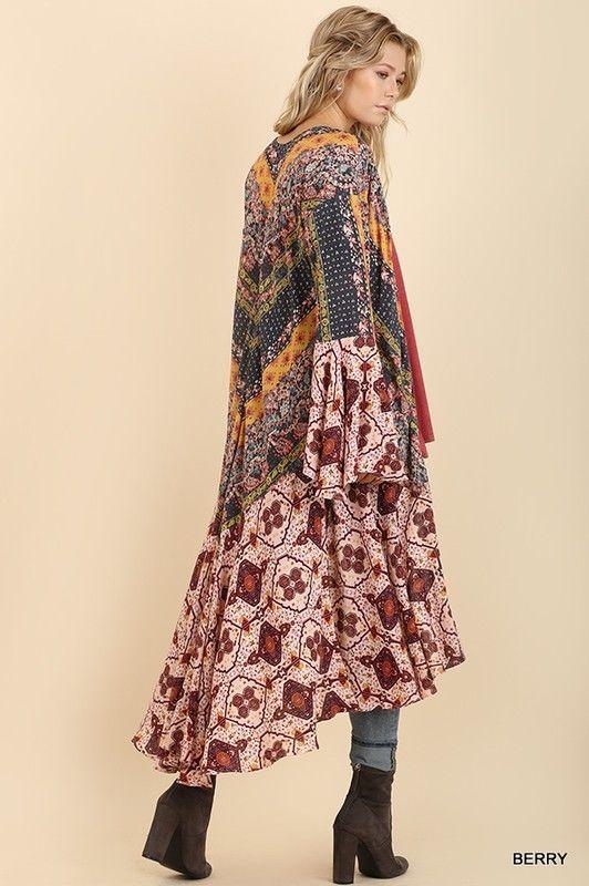 81d9bb2f78 UMGEE bell long sleeve mixed print ruffle kimono duster boho S M L #umgee  #Boho #Casual