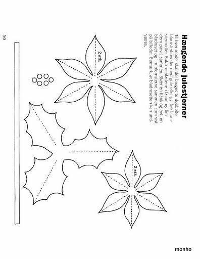 Cortina de flor de pascua o estrella de navidad en fieltro - Patrones gratis