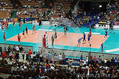 Interior of Spodek, a multipurpose arena complex in Katowice, Poland that  opened in 1971, during  pool D game between France and Belgium of 2017 Men`s European Volleyball Championship
