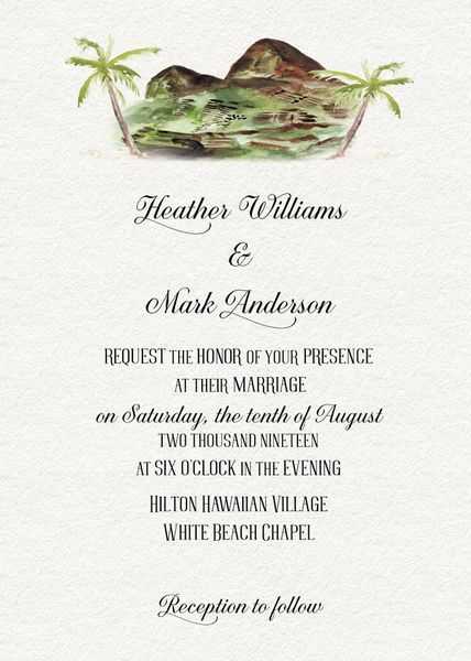 watercolor hawaii wedding invitation in 2018 rustic wedding